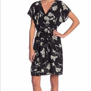 Black white floral faux wrap dress